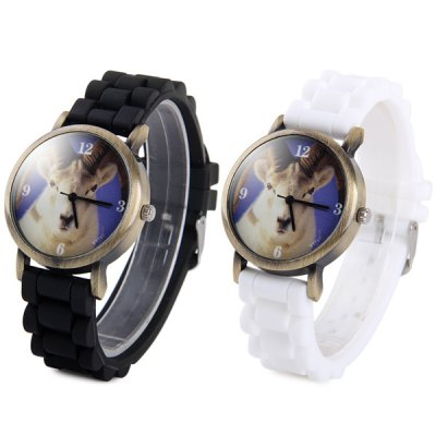 ФОТО Y111 Unisex Quartz Watch Sheep Pattern Round Dial Rubber Strap