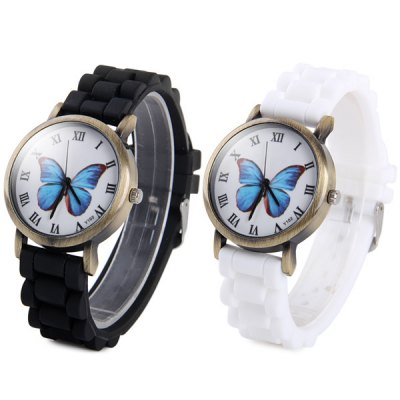 ФОТО Y102 Unisex Quartz Watch Butterfly Pattern Round Dial Rubber Strap