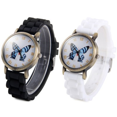 ФОТО Y115 Unisex Quartz Watch Butterfly Pattern Round Dial Rubber Strap