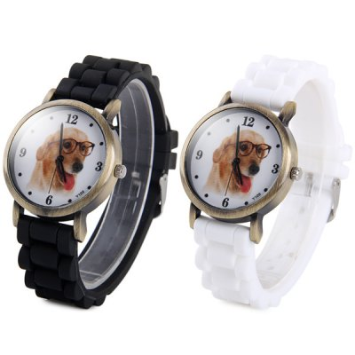 Гаджет   Y109 Unisex Quartz Watch Dog Pattern Round Dial Rubber Strap Unisex Watches