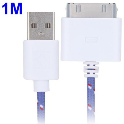 100cm Woven Design 30pin Data Sync / Charging Cable for iPhone 4 / 4S iPad 2