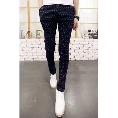 Гаджет   Casual Zipper Fly Personality Print Slimming Pocket Embellished Narrow Feet Men