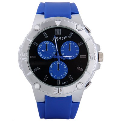 S - 517 Large Dial Rubber Band Sports Watch with Decorative Sub - dial