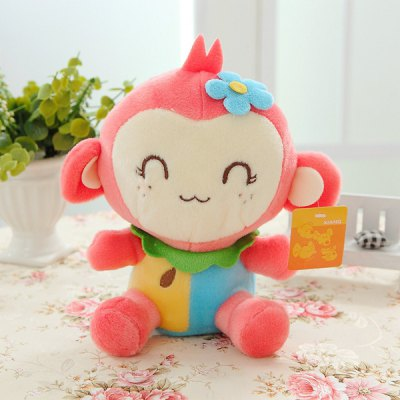 20cm Monkey Soft Plush Toy with Flower Stuffed Doll