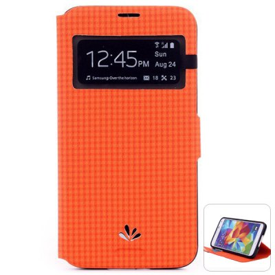 ViLi Stylish PU and PC Material Grid Pattern Cover Case for Samsung Galaxy S5 i9600 SM - G900