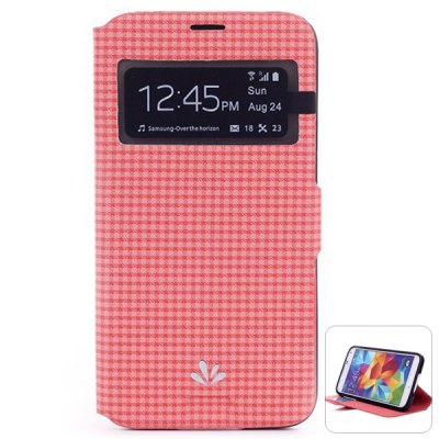 ФОТО ViLi Stylish PU and PC Material Grid Pattern Cover Case for Samsung Galaxy S5 i9600 SM - G900