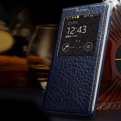 ФОТО Moby Fashion View Window Design Flip Stand Genuine Leather Cover with Lichee Pattern for Samsung Galaxy Note 3