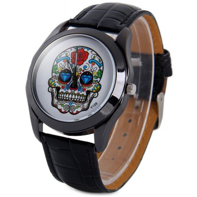 Y120 Unisex Analog Quartz Watch Skull Pattern Leather Strap