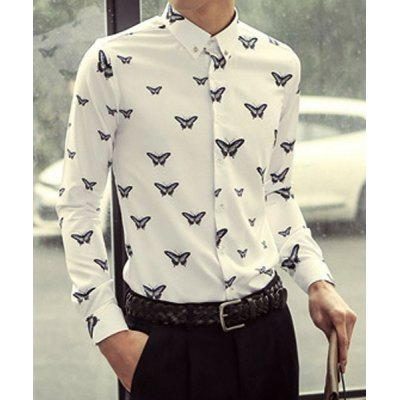 Гаджет   Fashion Style Turn-down Collar Slimming Butterfly Embroidery Long Sleeves Men