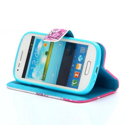 Фотография Cross Texture Phone Cover PU Case Skin with Stand Function for Samsung I8190 Galaxy S3 Mini