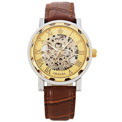 Гаджет   Orkina Men Watch Hollow Out Automatic Mechanical Wristwatch Leather Band Men