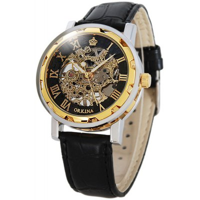 Orkina Men Watch Hollow Out Automatic Mechanical Wristwatch Leather Band