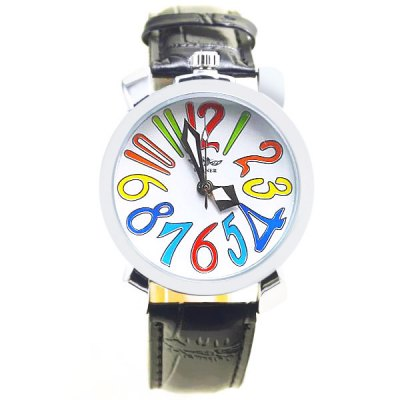 ФОТО Winner Men Colorful Scale Automatic Mechanical Watch Round Dial Leather Band