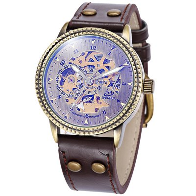 ФОТО Shenhua Men Hollow - out Automatic Mechanical Watch Wristwatch Round Dial Leather Band