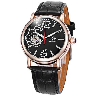 Shenhua Ladies Watch Hollow Out Automatic Mechanical Wristwatch