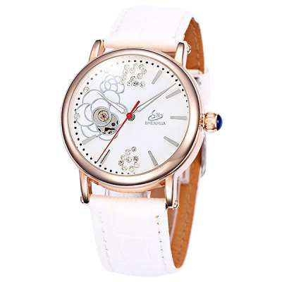 Гаджет   Shenhua Ladies Watch Hollow Out Automatic Mechanical Wristwatch Diamond Leather Band