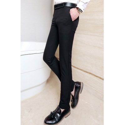 Гаджет   Slimming Stylish Button Design Ripple Splicing Straight Leg Cotton Blend Pants For Men Pants