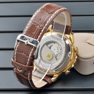 ФОТО Mce Working Sub - dials Day Date Function Automatic Mechanical Watch Leather Band for Men