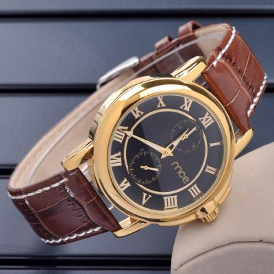 ФОТО Mce Hollow - out Male Automatic Mechanical Watch Leather Band Working Sub - dials