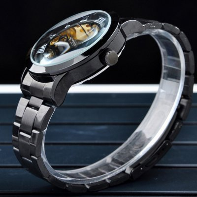 ФОТО Mce Hollow - out Decorative Sub - dial Male Automatic Mechanical Watch Round Dial Alloy Strap