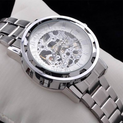 ФОТО Mce Automatic Mechanical Watch Male Hollow - out Wristwatch Alloy Strap