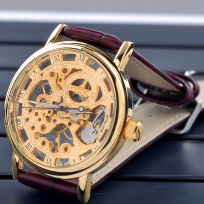 ФОТО Mce Hollow - out Semi - automatic Mechanical Watch Roman Numeral Scales Leather Band for Men