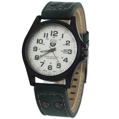 Гаджет   SOKI Male Quartz Watch with Date Leather Band Round Dial Men