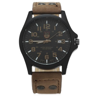 SOKI Male Quartz Watch with Date Leather Band Round Dial