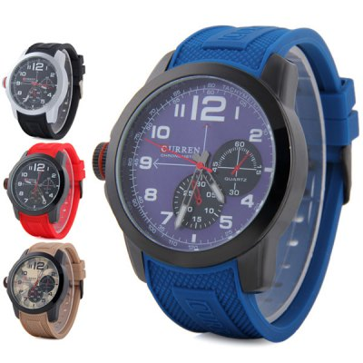 Curren 8182A Men Quartz Watch Rubber Band with Non - functioning Sub - dials