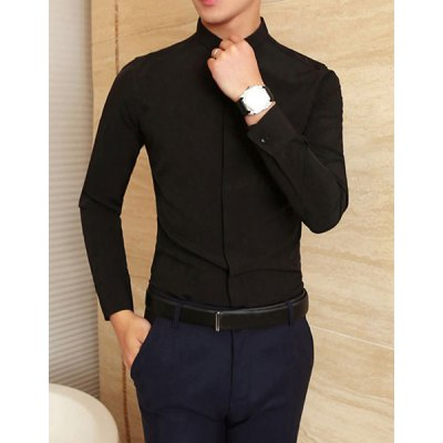 Гаджет   Stylish Shirt Collar Slimming Solid Color Rhinestone Embellished Long Sleeve Cotton Blend Shirt For Men Shirts