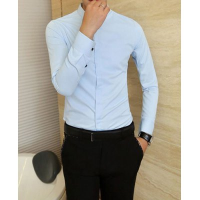 Гаджет   Stylish Shirt Collar Slimming Solid Color Button Design Long Sleeve Cotton Blend Shirt For Men Shirts