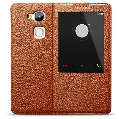 ФОТО Moby View Window Design Genuine Leather PC and TPU Material Litichi Veins Cover Case for Huawei Mate 7
