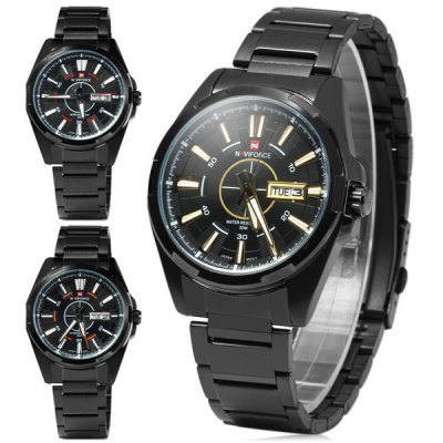 Naviforce NF9034M Men Japan Quartz Analog Military WatchMens Watches<br>Naviforce NF9034M Men Japan Quartz Analog Military Watch<br><br>Watches categories: Male table<br>Watch style: Military<br>Available color: Champagne, Red, Orange<br>Movement type: Quartz watch<br>Shape of the dial: Round<br>Display type: Analog<br>Case material: Stainless steel<br>Case color: Black<br>Band material: Steel<br>Clasp type: Folding clasp with safety<br>Band color: Black<br>Special features: Day, Week<br>Water Resistance: 30 meters<br>The dial thickness: 1.0 cm / 0.4 inches<br>The dial diameter: 4.2 cm / 1.7 inches<br>The band width: 2.1 cm / 0.8 inches<br>Product weight: 0.114 kg<br>Package weight: 0.160 kg<br>Product size (L x W x H): 11 x 4.5 x 1 cm / 4.32 x 1.77 x 0.39 inches<br>Package size (L x W x H): 13 x 6 x 2 cm / 5.11 x 2.36 x 0.79 inches<br>Package Contents: 1 x Watch