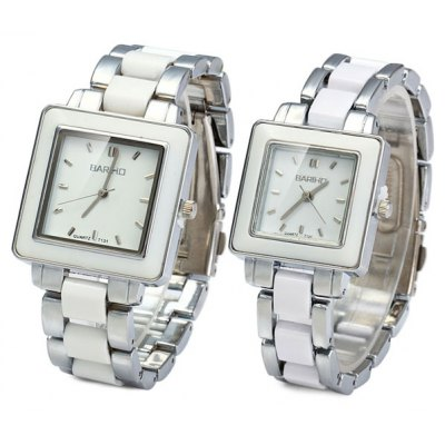 Bariho T131 Ceramic + Steel Strap Couple Quartz Watch Rectangle Dial