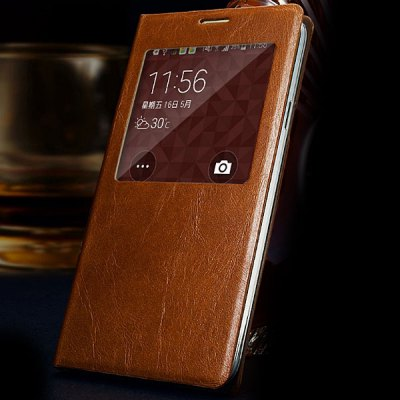 ФОТО Moby Smart View Window Design Flip Vintage Waxy Genuine Leather Cover Case for Samsung Galaxy S5