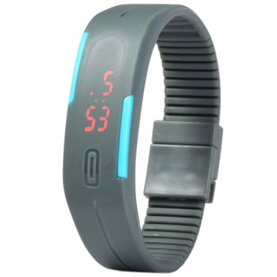 Гаджет   LED Watch Date Red Digital Rectangle Dial Rubber Band LED Watches