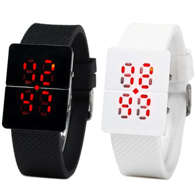 Hollow Out LED Sports Watch Red Digital Date Rubber Watchband от GearBest.com INT