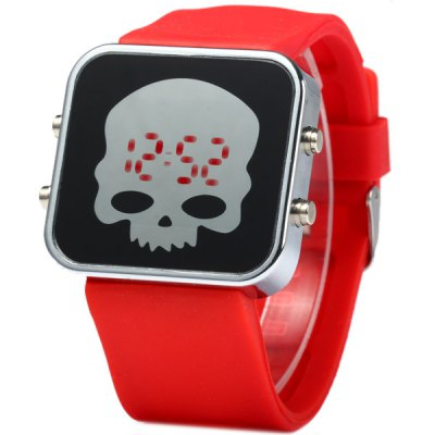 LED Sports Skull Face Watch Red Digital Date Rubber Watchband