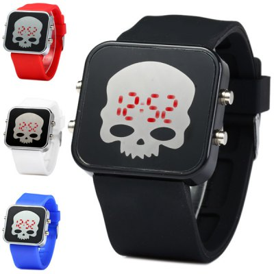 LED Sports Skull Face Watch Red Digital Date Rubber Watchband от GearBest.com INT