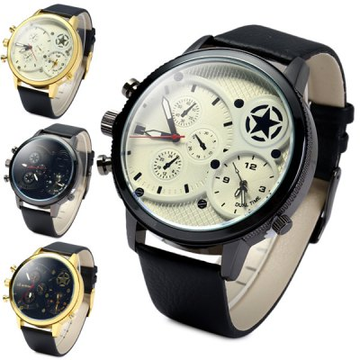 Гаджет   Swaves 881 Men Quartz Analog Military Watch Dual - movt Non - functioning Sub - dials Leather Strap Men