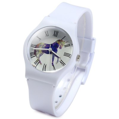 Willis Children Quartz Watch with Unicorn Pattern Round Dial Rubber Strap