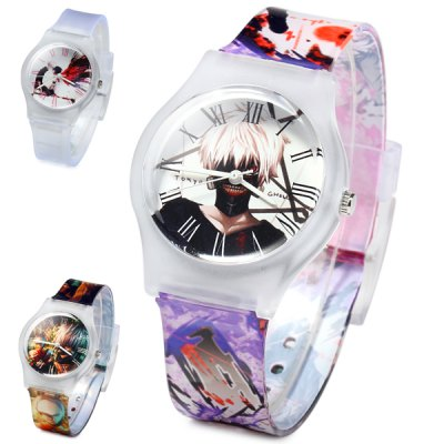 Willis Children Quartz Watch with Tokyo Ghouls Pattern Round Dial Rubber StrapKids Watches<br>Willis Children Quartz Watch with Tokyo Ghouls Pattern Round Dial Rubber Strap<br><br>Watches categories: Children watch<br>Watch style: Lovely<br>Available Color: Transparent color, Assorted Colors<br>Movement type: Quartz watch<br>Shape of the dial: Round<br>Display type: Analog<br>Case material: Plastic<br>Band material: Rubber<br>Clasp type: Pin buckle<br>Water Resistance: Life water resistant<br>The dial thickness: 0.8 cm / 0.31 inches<br>The dial diameter: 3.4 cm / 1.34 inches<br>The band width: 1.6 cm / 0.63 inches<br>Product weight: 0.020 kg<br>Package weight: 0.070 kg<br>Product size (L x W x H) : 23 x 3.6 x 0.8 cm / 9.04 x 1.41 x 0.31 inches<br>Package size (L x W x H): 25 x 5 x 2 cm / 9.83 x 1.97 x 0.79 inches<br>Package contents: 1 x Watch