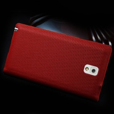 ФОТО Moby Smart View Window Design Flip Genuine Leather Case with Grid Pattern for Samsung Galaxy Note 3