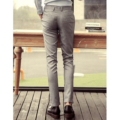 Гаджет   Casual Style Zipper Fly Solid Color Slimming Pocket Embellished Straight Leg Men