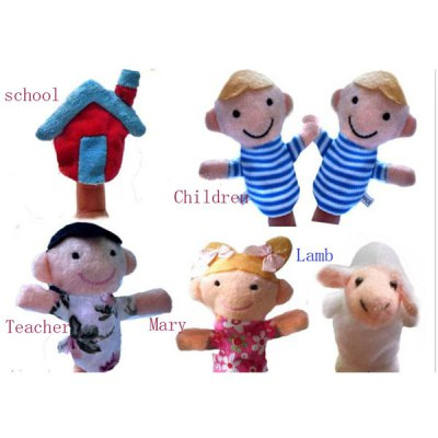 7.5cm Nursery Rhyme Mary Had A Little Lamb Plush Toy Finger Puppets Early Education Supplies Mouse Doll  -  6Pcs
