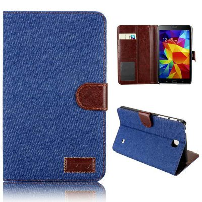 Jeans Cloth Cover PU Case Skin with Stand Function
