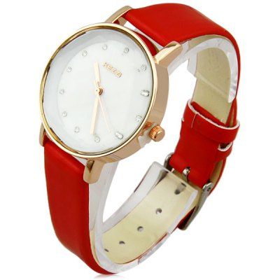 Kezzi Women Diamond Analog Quartz Watch with Leather Band