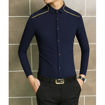 Гаджет   Laconic Solid Color Turn-down Collar Slimming Line Embroidery Long Sleeves Men