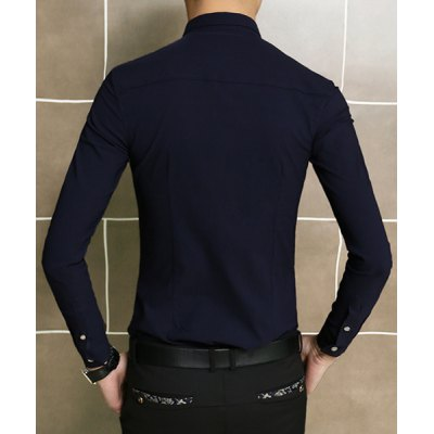 Гаджет   Slimming Turn-down Collar Embroidery Embellished Solid Color Long Sleeves Men