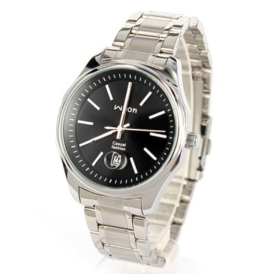 ФОТО Wilon Business Male Quartz Watch with Date Round Dial Stainless Steel Body